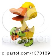 3d Yellow Gardener Duck Playing A Guitar On A White Background