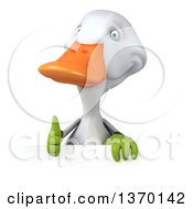 Clipart Of A 3d White Gardener Duck On A White Background Royalty Free Illustration