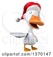 Clipart Of A 3d White Christmas Duck Holding A Plate On A White Background Royalty Free Illustration