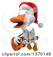 Clipart Of A 3d White Christmas Duck Flying And Playing A Guitar On A White Background Royalty Free Illustration