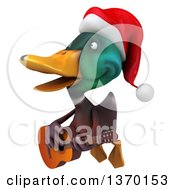 3d Christmas Mallard Drake Duck Flying Singing And Playing A Guitar On A White Background On A White Background