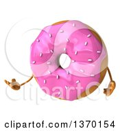 Clipart Of A 3d Pink Sprinkle Frosted Donut Character Presenting On A White Background Royalty Free Illustration by Julos