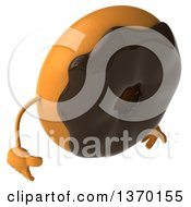 Clipart Of A 3d Chocolate Frosted Donut Character Looking Down On A White Background Royalty Free Illustration by Julos