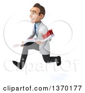 Clipart Of A 3d Happy Young Brunette White Male Dentist Running With A Giant Toothbrush On A White Background Royalty Free Illustration