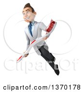 Clipart Of A 3d Happy Young Brunette White Male Dentist Flying With A Giant Toothbrush On A White Background Royalty Free Illustration