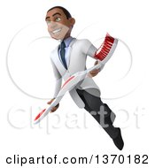 Clipart Of A 3d Young Black Male Dentist Flying And Holding A Giant Toothbrush On A White Background Royalty Free Illustration
