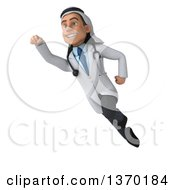 Clipart Of A Young Male Arabian Doctor Flying On A White Background Royalty Free Illustration by Julos