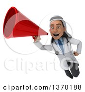 Clipart Of A Young Male Arabian Doctor Flying With A Megaphone On A White Background Royalty Free Illustration by Julos