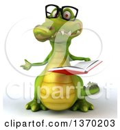 Clipart Of A 3d Bespectacled Crocodile Reading A Book On A White Background Royalty Free Illustration