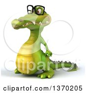 Clipart Of A 3d Bespectacled Crocodile On A White Background Royalty Free Illustration