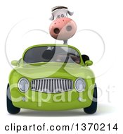 Clipart Of A 3d Cow Driving A Green Convertible Car On A White Background Royalty Free Illustration