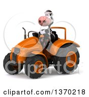 Clipart Of A 3d Cow Farmer Operating An Orange Tractor On A White Background Royalty Free Illustration