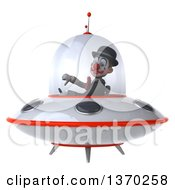 Clipart Of A 3d White And Black Clown Flying A Ufo On A White Background Royalty Free Illustration