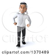Clipart Of A 3d Young Male Arabian Chef Walking On A White Background Royalty Free Vector Illustration by Julos
