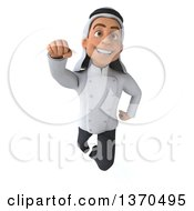 Clipart Of A 3d Young Male Arabian Chef Flying On A White Background Royalty Free Vector Illustration by Julos