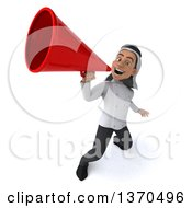 Clipart Of A 3d Young Male Arabian Chef Announcing With A Megaphone On A White Background Royalty Free Vector Illustration by Julos