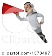 Clipart Of A 3d Young Male Arabian Chef Flying And Announcing With A Megaphone On A White Background Royalty Free Vector Illustration by Julos