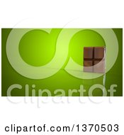 Clipart Of A 3d Chocolate Bar On A Green Background Royalty Free Illustration by Julos