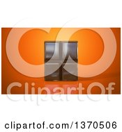 Clipart Of A 3d Chocolate Bar On An Orange Background Royalty Free Illustration by Julos