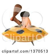 Clipart Of A 3d Caveman Flying A Ufo On A White Background Royalty Free Illustration