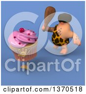 Clipart Of A 3d Caveman Chasing A Cupcake With A Club On A Blue Background Royalty Free Illustration