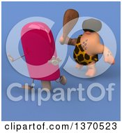 Clipart Of A 3d Caveman Chasing A Popsicle With A Club On A Blue Background Royalty Free Illustration