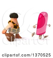 Clipart Of A 3d Caveman Chasing A Popsicle With A Club On A White Background Royalty Free Illustration