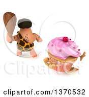 Clipart Of A 3d Caveman Chasing A Cupcake With A Club On A White Background Royalty Free Illustration