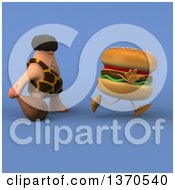 Clipart Of A 3d Caveman Chasing A Cheeseburger With A Club On A Blue Background Royalty Free Illustration