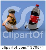 Clipart Of A 3d Caveman Chasing A Soda Bottle With A Club On A Blue Background Royalty Free Illustration