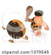 Clipart Of A 3d Caveman Chasing A Donut With A Club On A White Background Royalty Free Illustration