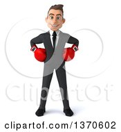 3d Young White Business Man Wearing Boxing Gloves On A White Background