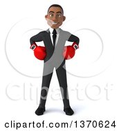 Clipart Of A 3d Young Black Business Man Wearing Boxing Gloves On A White Background Royalty Free Illustration by Julos