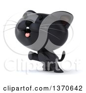 Clipart Of A 3d Rearing Black Kitten On A White Background Royalty Free Illustration