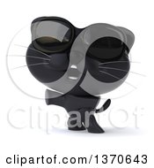 Clipart Of A 3d Rearing Black Kitten Wearing Sunglasses On A White Background Royalty Free Illustration