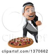 Clipart Of A 3d Young Arabian Business Man Holding A Pizza On A White Background Royalty Free Illustration