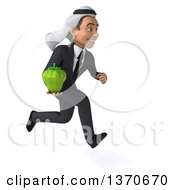 Clipart Of A 3d Young Arabian Business Man Holding A Green Bell Pepper On A White Background Royalty Free Illustration