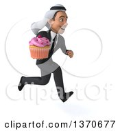 Clipart Of A 3d Arabian Business Man Holding A Cupcake On A White Background Royalty Free Illustration