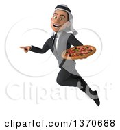 Clipart Of A 3d Arabian Business Man Holding A Pizza On A White Background Royalty Free Illustration