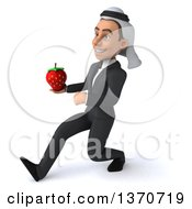Clipart Of A 3d Arabian Business Man Holding A Strawberry And Speed Walking On A White Background Royalty Free Illustration