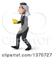 Clipart Of A 3d Arabian Business Man Holding A Banana And Walking On A White Background Royalty Free Illustration