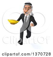 Clipart Of A 3d Arabian Business Man Holding A Banana And Sprinting On A White Background Royalty Free Illustration
