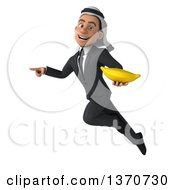 Clipart Of A 3d Arabian Business Man Holding A Banana Flying And Pointing On A White Background Royalty Free Illustration
