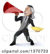 Clipart Of A 3d Arabian Business Man Holding A Banana And Using A Megaphone On A White Background Royalty Free Illustration