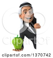 Clipart Of A 3d Arabian Business Man Holding A Green Bell Pepper Around A Sign On A White Background Royalty Free Illustration