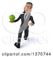 Clipart Of A 3d Arabian Business Man Holding A Green Bell Pepper And Walking On A White Background Royalty Free Illustration