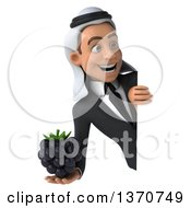 Clipart Of A 3d Arabian Business Man Holding A Blackberry Around A Sign On A White Background Royalty Free Illustration