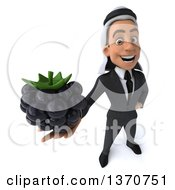 Clipart Of A 3d Arabian Business Man Holding A Blackberry On A White Background Royalty Free Illustration