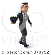 Clipart Of A 3d Arabian Business Man Holding A Blackberry And Walking On A White Background Royalty Free Illustration