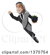 Clipart Of A 3d Arabian Business Man Holding A Blackberry And Flying On A White Background Royalty Free Illustration